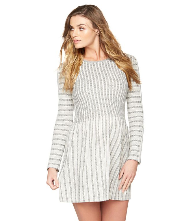 BCBGMAXAZRIA Knit Skater Maternity Dress, Black Ivory Combo