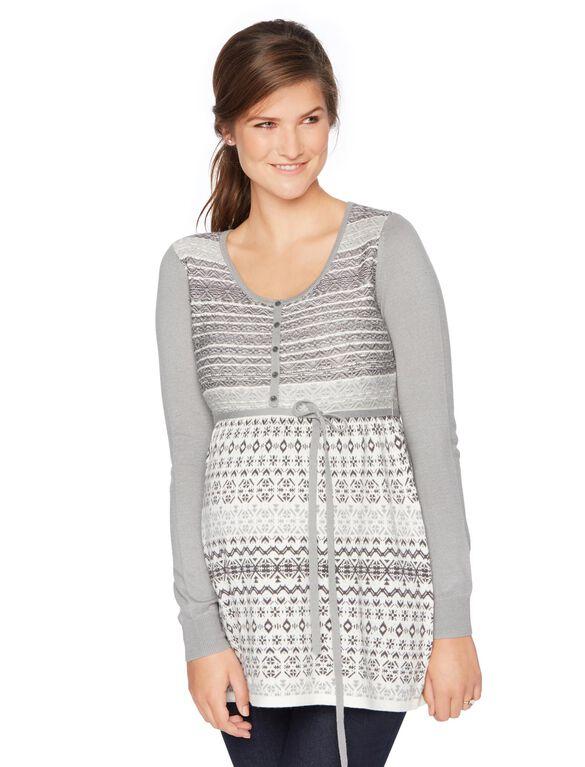 Babydoll Fairisle Maternity Tunic, Blk/White