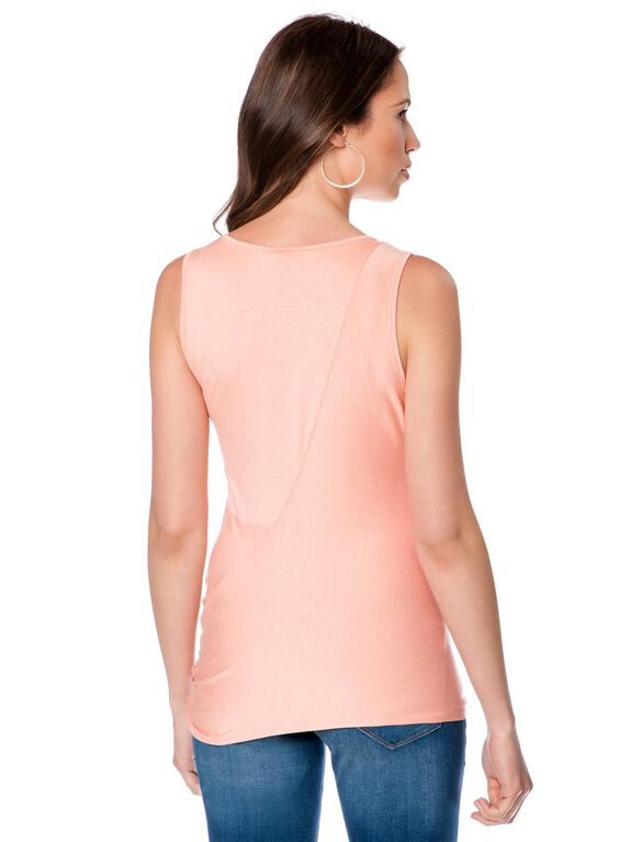 Knot Front Maternity Tank Top, Peach