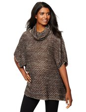 Cowl Embellished Maternity Sweater, Black/Gold