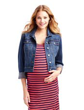 Jessica Simpson Button Front Plain Weave Denim Maternity Jacket, Dark Wash
