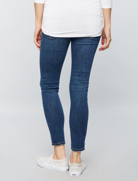 AG Jeans Secret Fit Belly Legging Ankle Destructed Maternity Jeans, Dark Wash