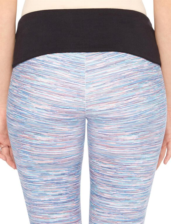 Foldover Belly Spacedye Maternity Crop Leggings, Multi Space Dye