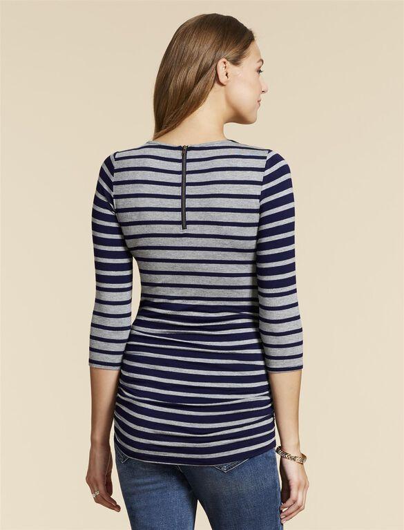 Jessica Simpson Zipper Detail Maternity Shirt, Grey Navy Stripe