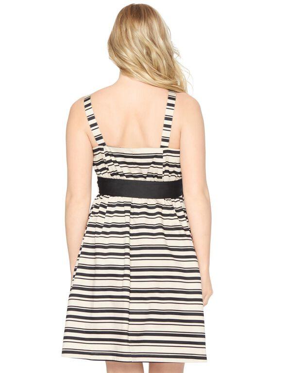 Bow Detail Maternity Dress- Stripe, Tan/Black Stripe