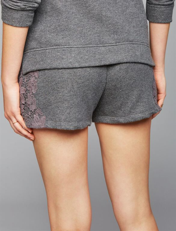 Under Belly French Terry Maternity Shorts, Charcoal