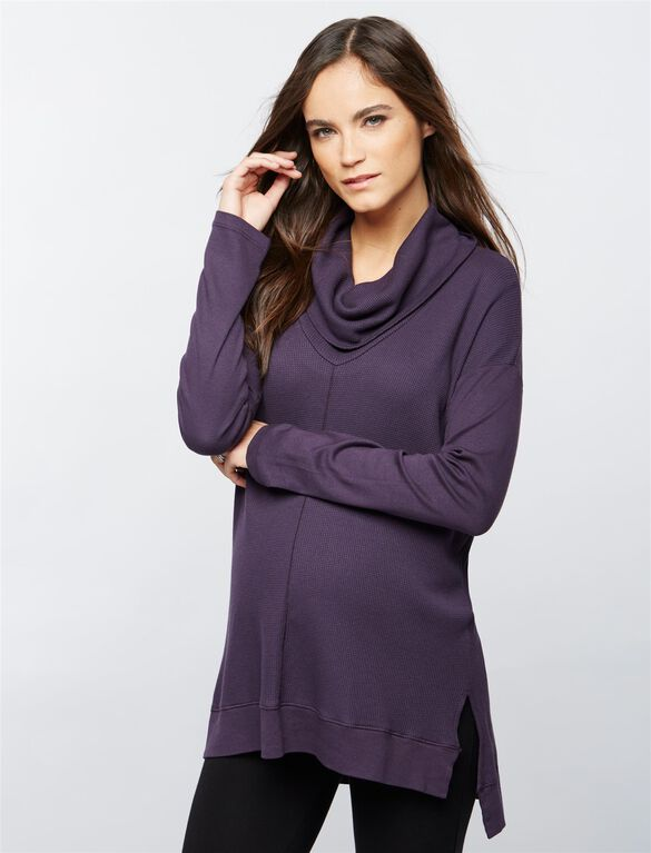 Splendid Cowl Thermal Maternity Shirt, Plum