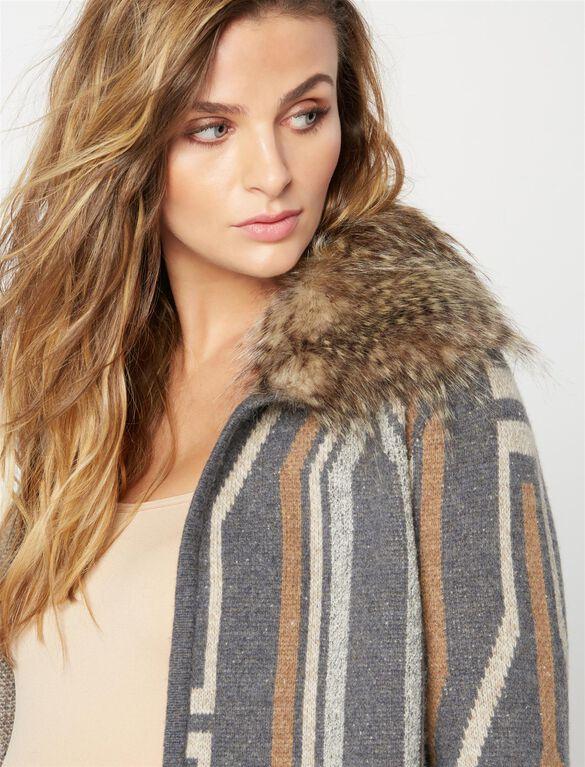 Ella Moss Faux Fur Maternity Sweater, Charcoal