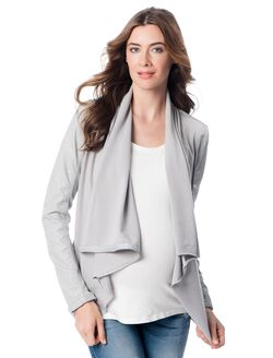 Blank NYC Faux Leather Maternity Jacket, Light Grey