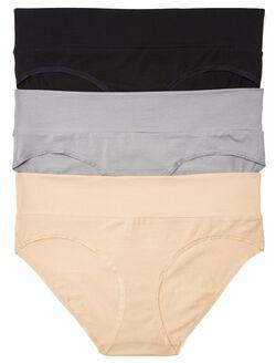 Plus Size Maternity Fold Over Panties (3 Pack), Black Multi Pack