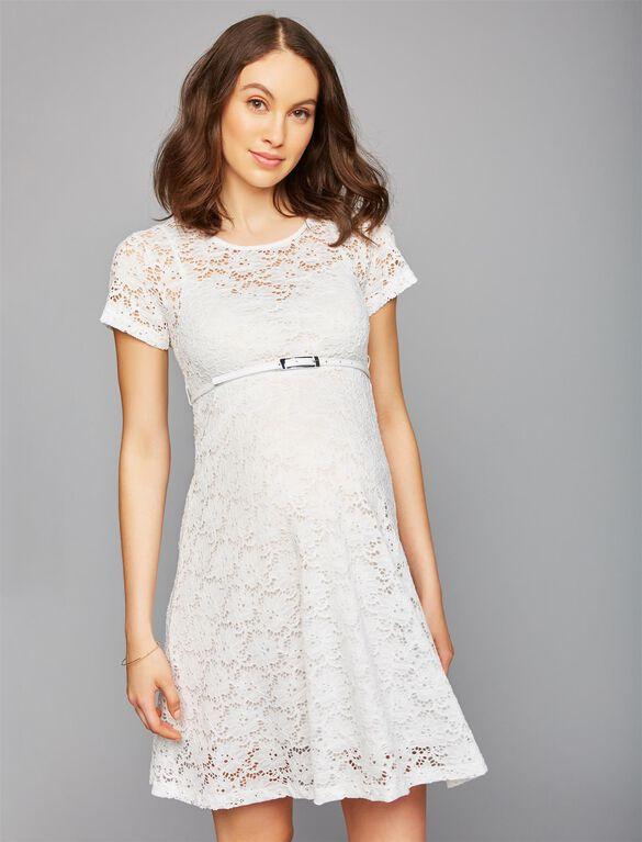 Pietro Brunelli Lace Belted Maternity Dress, White