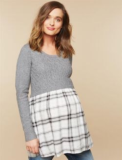 Babydoll Maternity Sweater Tunic, Plaid Multi