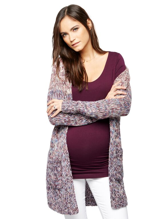 Ombre Open Front Maternity Cardigan, Pink To Blue Ombre