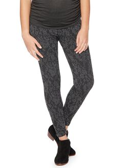 Seamless Fleece Printed Maternity Leggings, Blk/Gry Lace Floral