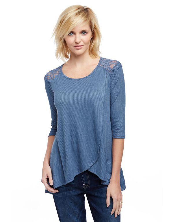 Jessica Simpson Lace Pull Over Nursing Top- Blue, Blue