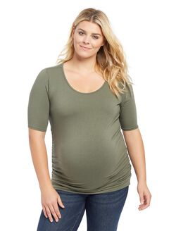 Plus Size Side Ruched Maternity Tee- Olive, Olive