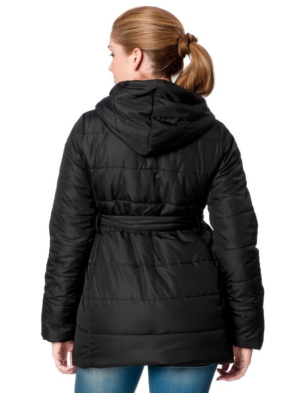 Hooded Quilted Puffer Maternity Coat, Black