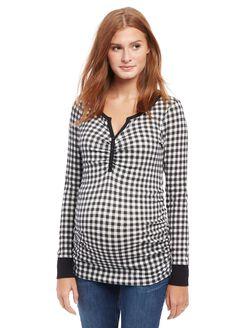 Checked Henley Maternity Shirt, Black/White