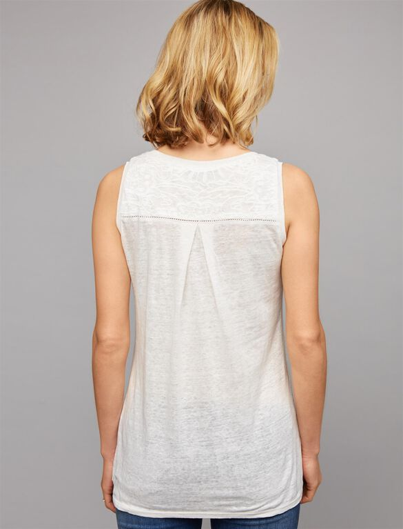 Embroidered Linen Maternity Tank Top, Soft White