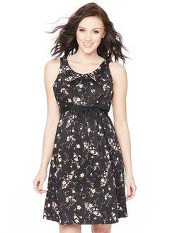 Sateen Maternity Dress- Black Floral, Black Floral
