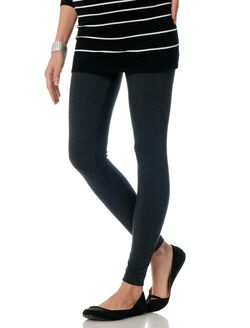 Luxe Essentials Secret Fit Belly Knit Maternity Leggings, Heather Grey