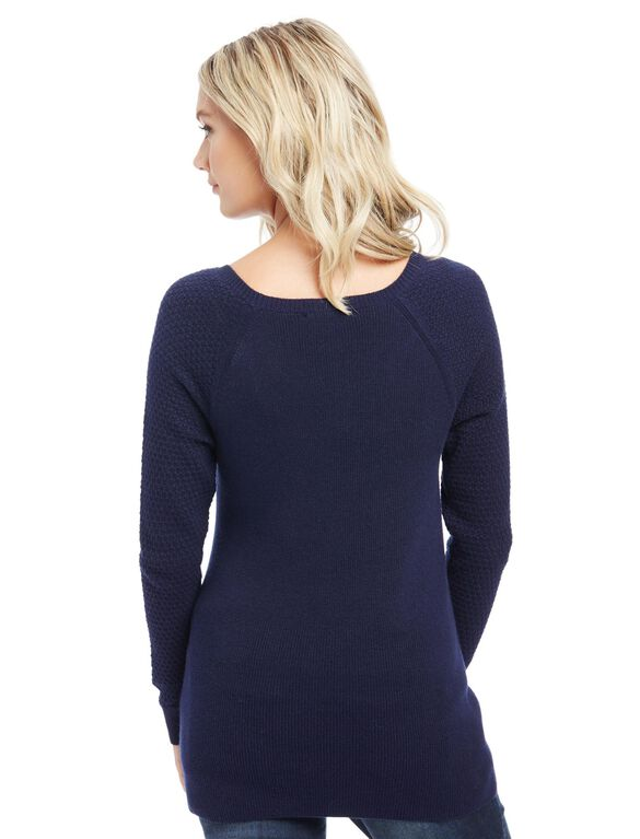 Rib Knit Maternity Sweater, Navy