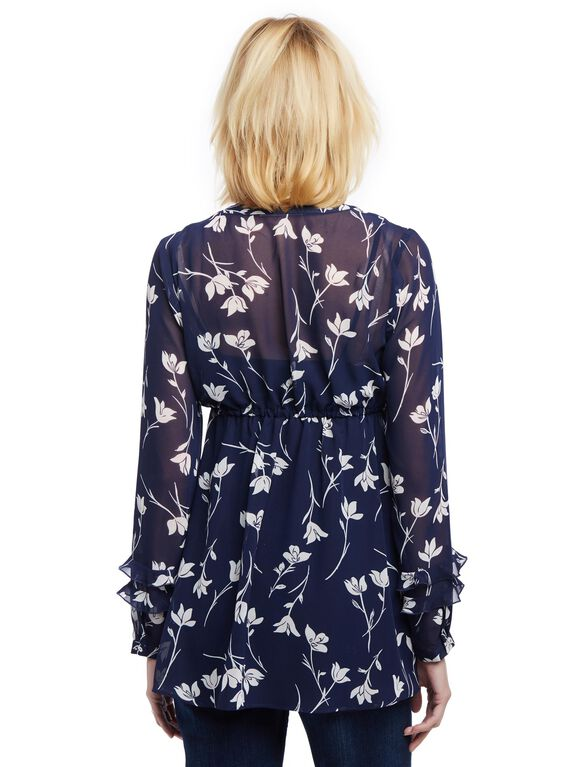 Side Tie Ruffle Sleeve Maternity Tunic, Navy Pink Floral