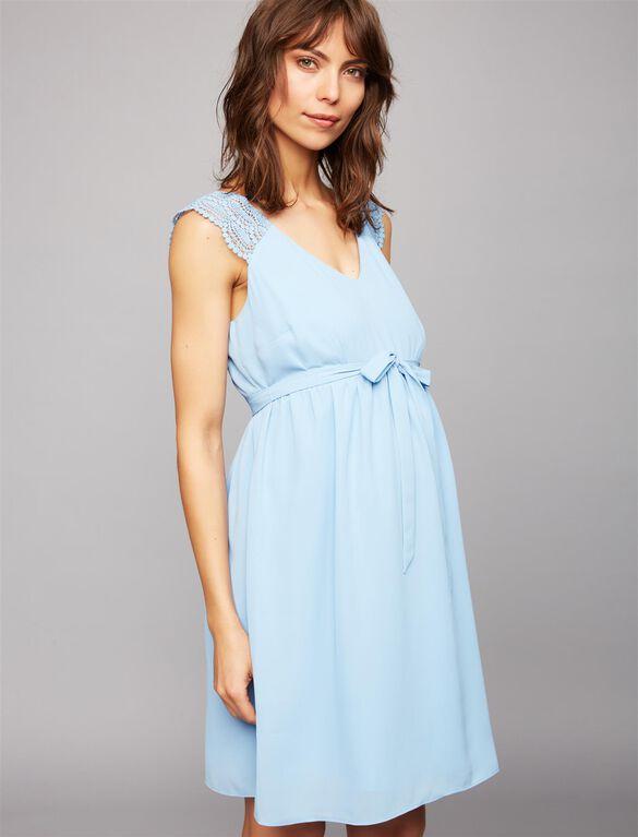 Lace Shoulder Maternity Dress- Blue, Blue