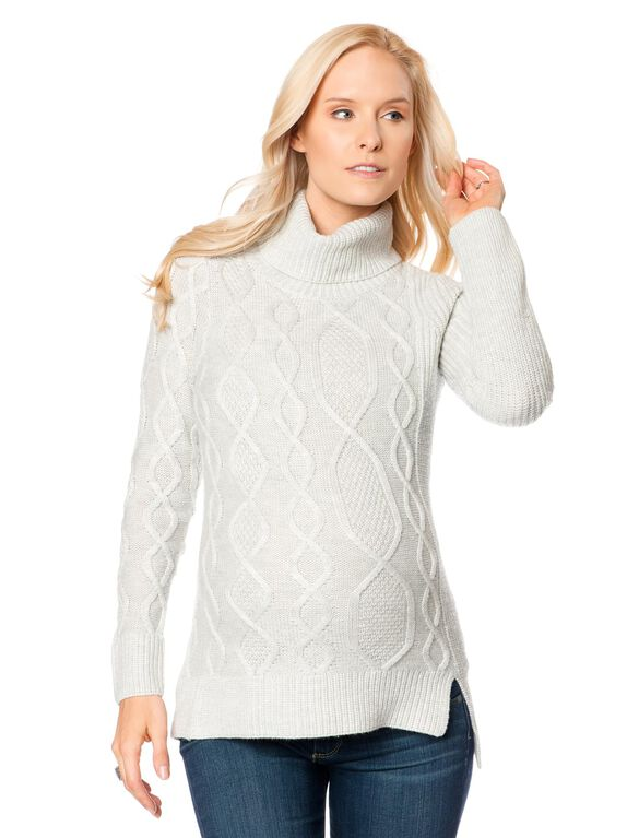 Rib Knit Maternity Sweater, Ash Grey