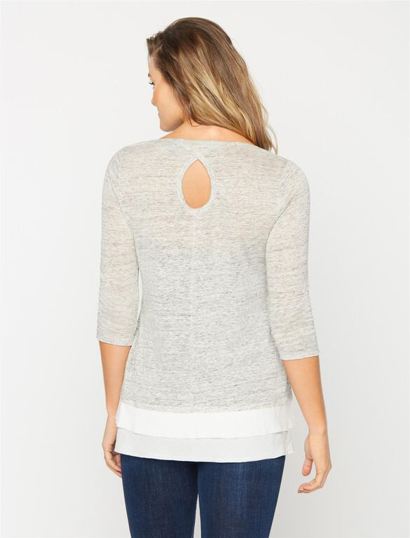 Knit Woven 3/4 Sleeve Maternity Top, Heather Grey