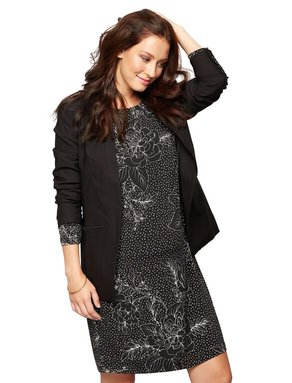 Tailored Tech Twill Maternity Blazer, Black