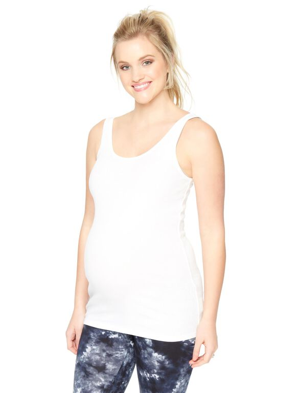 Rib Knit Maternity Tank- Solid, White