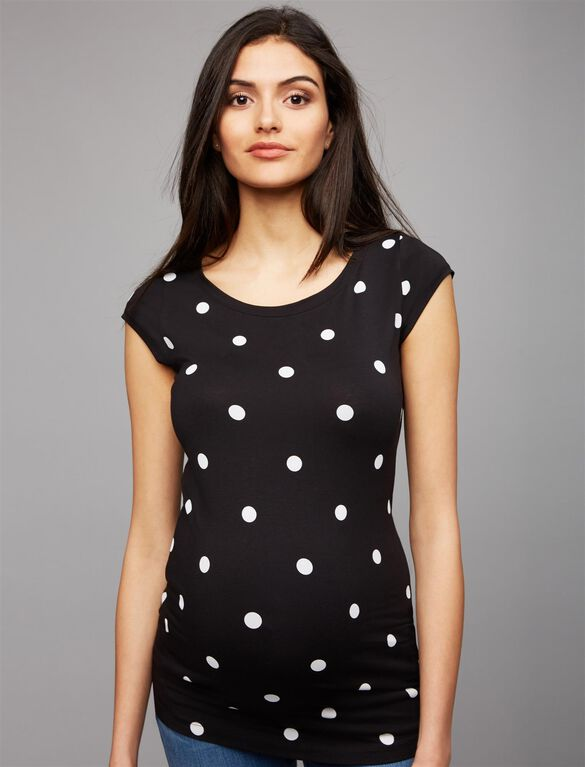 Cap Sleeve Maternity Tee- Black/White Dot, Black/White Dot