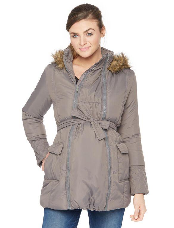 Modern Eternity 3 In 1 Belted Maternity Puffer Coat, Dark Grey