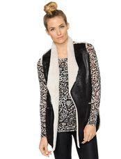 Faux Fur Maternity Vest, Black