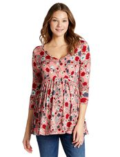 Jessica Simpson Babydoll Maternity Tunic, Pink Floral