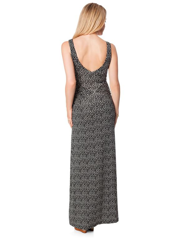 Tart Collections Side Ruched Maternity Maxi Dress, Black/White Geo