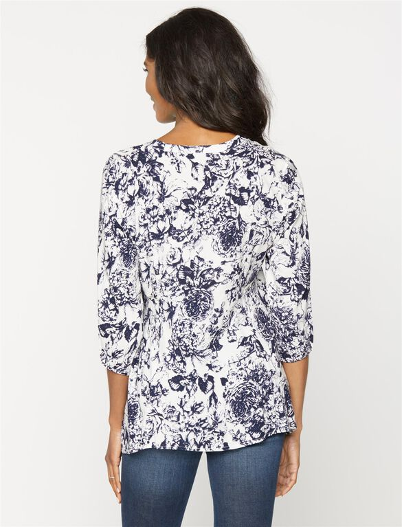 Crochet Detail Maternity Blouse, Blue/White Floral