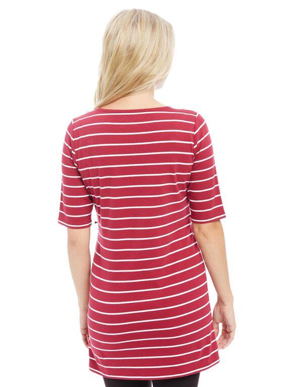 Bumpstart Lightweight Maternity Tunic, Zin/White Stripe