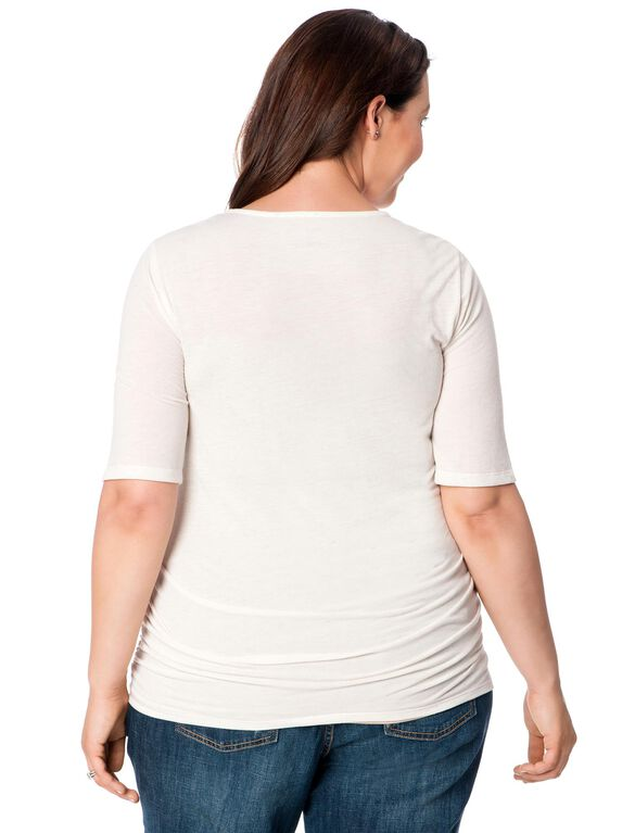 Plus Size Side Ruched Maternity T Shirt, Gray