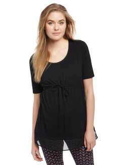 Knit Woven Tie Detail Maternity Top, Black