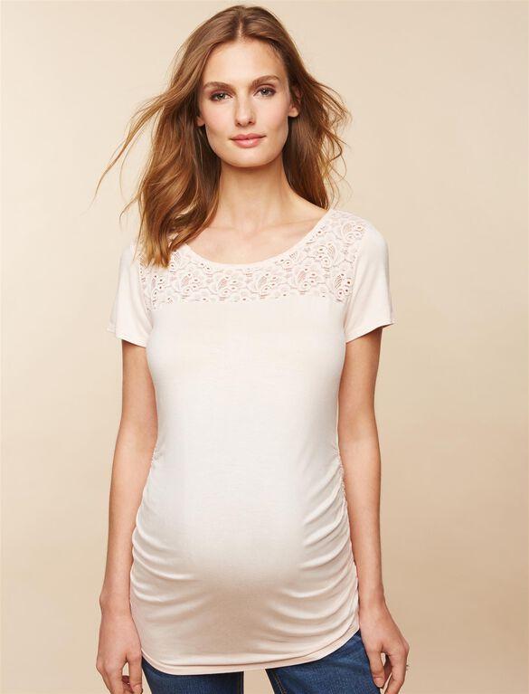 Lace Maternity T Shirt, Silver Poeny