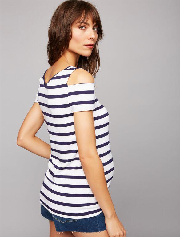 Pietro Brunelli Cold Shoulder Maternity Top, Stripe