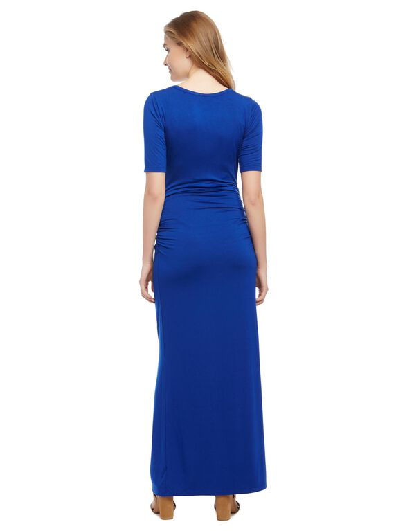Side Ruched Maternity Maxi Dress, Soft Cobalt