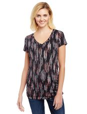 V-neck Side Ruched Maternity Tee- Black Dot Print, Black Drip Dot