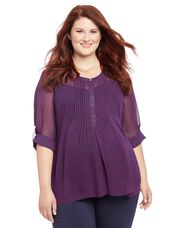Plus Size Floral Print Pleated Maternity Blouse, Navy/Raspberry Dot