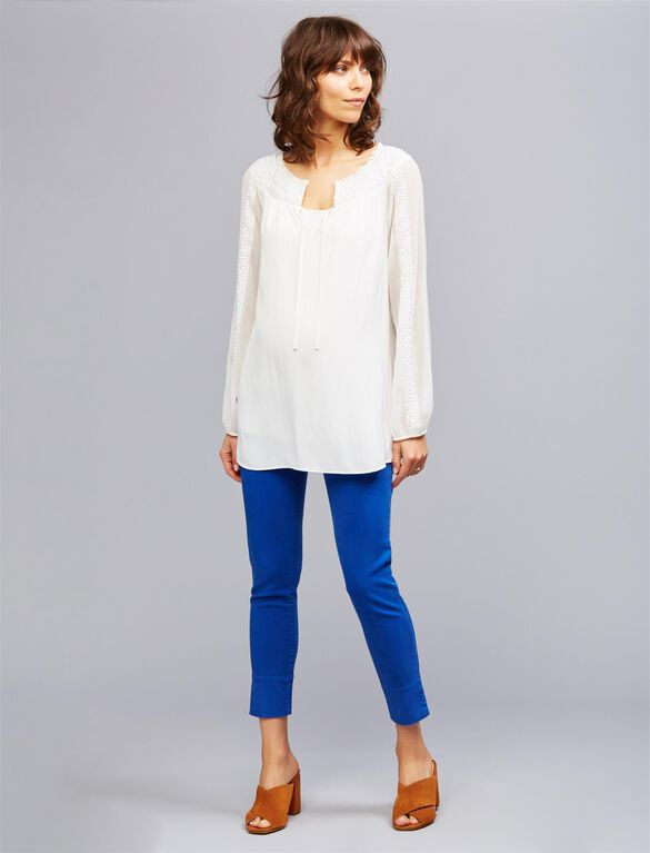 Embellished Maternity Peasant Blouse, Soft White