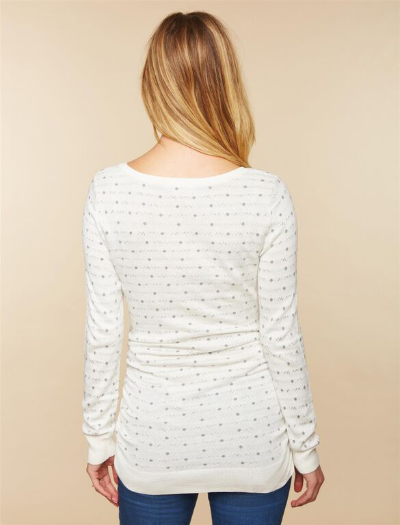Side Ruched Maternity Sweater, White Grey Dot