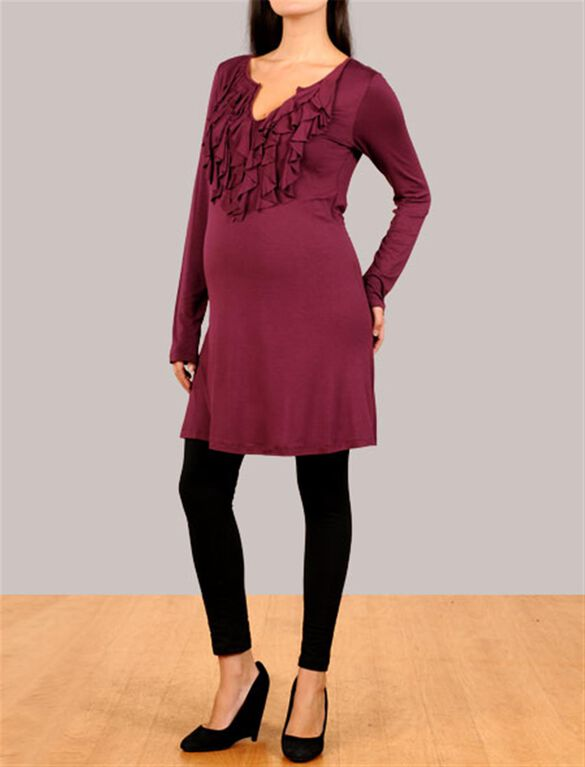 Ruffle Front Maternity Dress, Currant