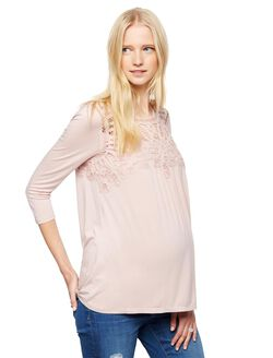 Daniel Rainn Lace Maternity Shirt, Pink